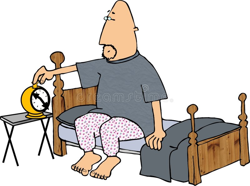 Download Alarm Clock stock illustration. Image of pajamas, asleep - 42106