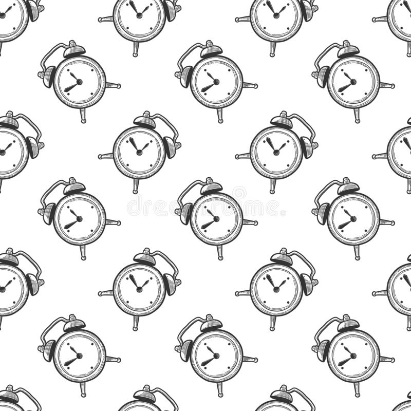 Alarm clock, analog watches. Vector in doodle and sketch style royalty free illustration