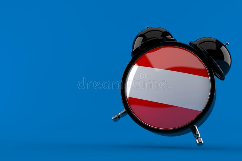 Alarm clock with austrian flag. Isolated on blue background. 3d illustration stock illustration
