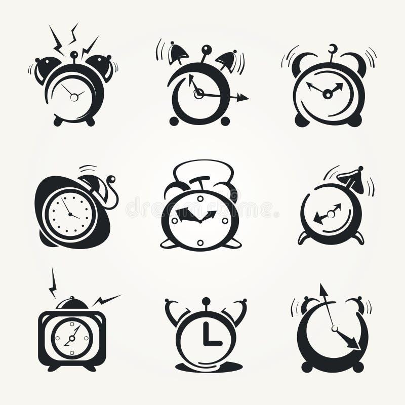 Alarm clock black icons stock illustration