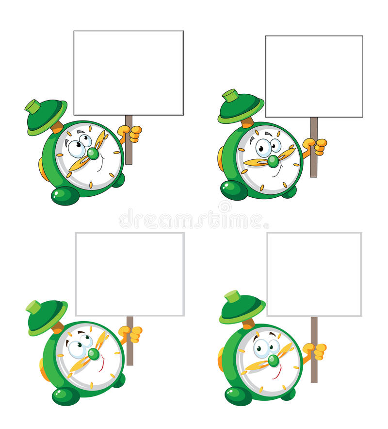 Download Alarm Clock With Blank Sign Stock Photo - Image: 28976180