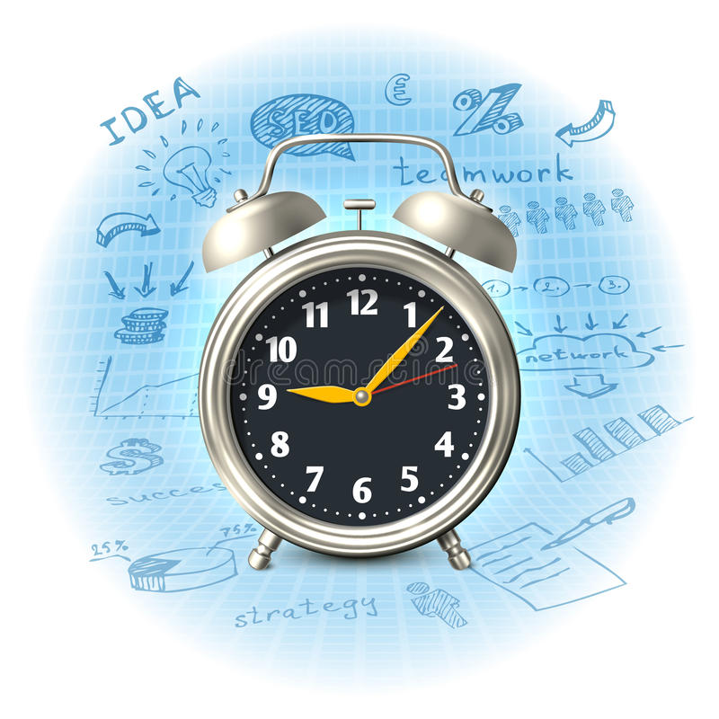 Alarm clock business strategy vector illustration