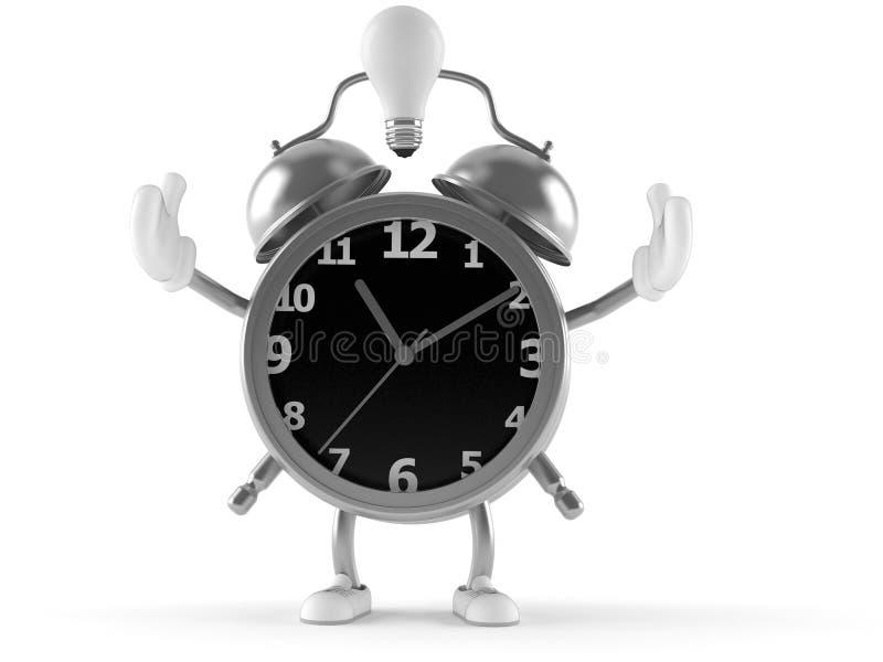 Alarm clock character with light bulb stock illustration