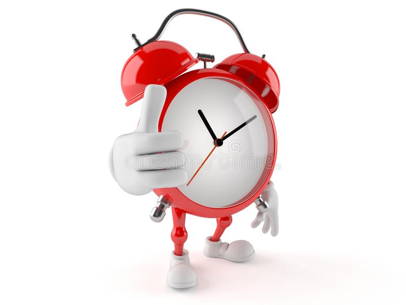 Alarm clock character with thumbs up royalty free illustration