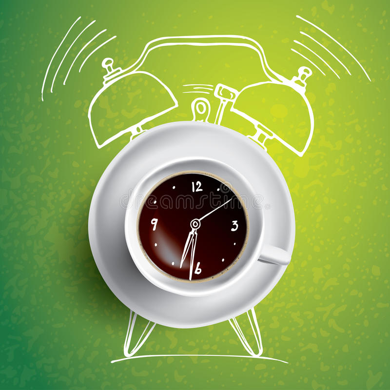 Alarm clock and coffee concept illustration with doodle stock illustration