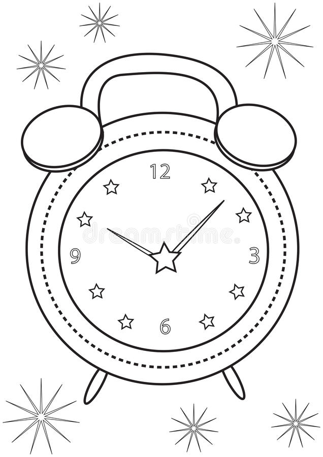 Alarm Clock Coloring Page Stock Illustration Illustration Of Beauty