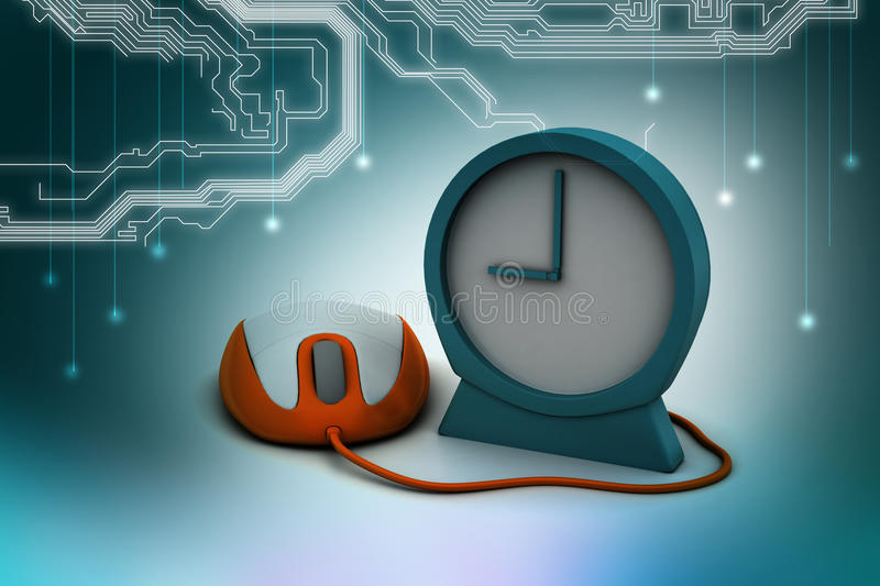 Download Alarm Clock And Computer Mouse Stock Illustration - Image: 43638539