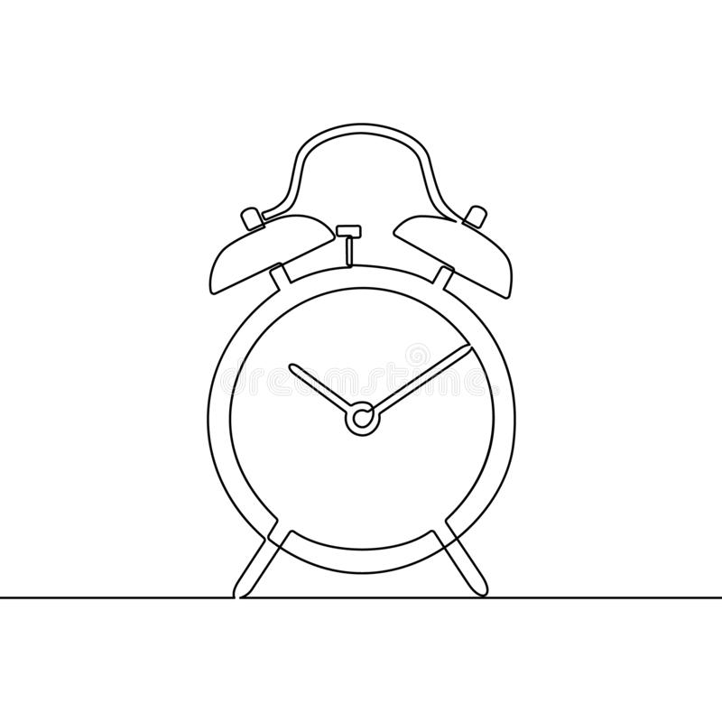 Alarm clock continuous one line drawing. Black and white vector illustration royalty free illustration