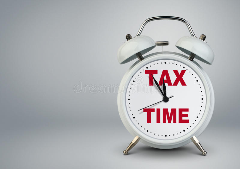 Alarm clock with copy space, tax time finance concept royalty free stock photos