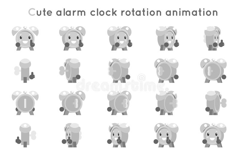 Alarm clock cute child ticker kid character icons rotation animation symbols frames set isolated flat design vector royalty free illustration