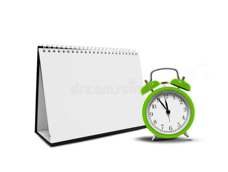 Alarm clock and desktop calender. Over white royalty free illustration