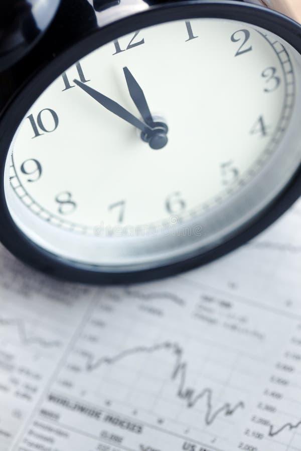 Alarm clock on financial graph.last moment royalty free stock photos