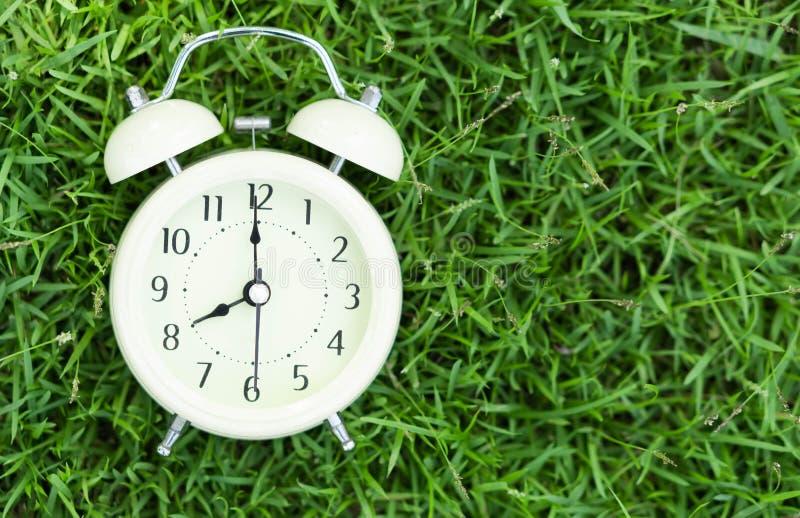Alarm clock on fresh green gress background, morning relax time concept. Alarm clock on fresh green gress background, morning relax time royalty free stock image