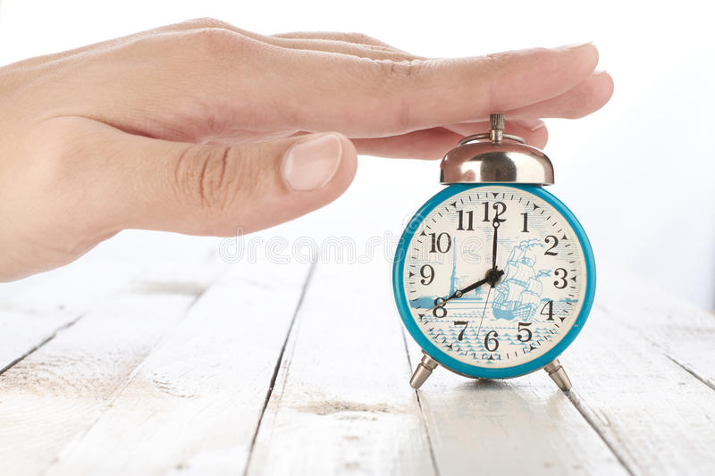Alarm clock with hand royalty free stock photos