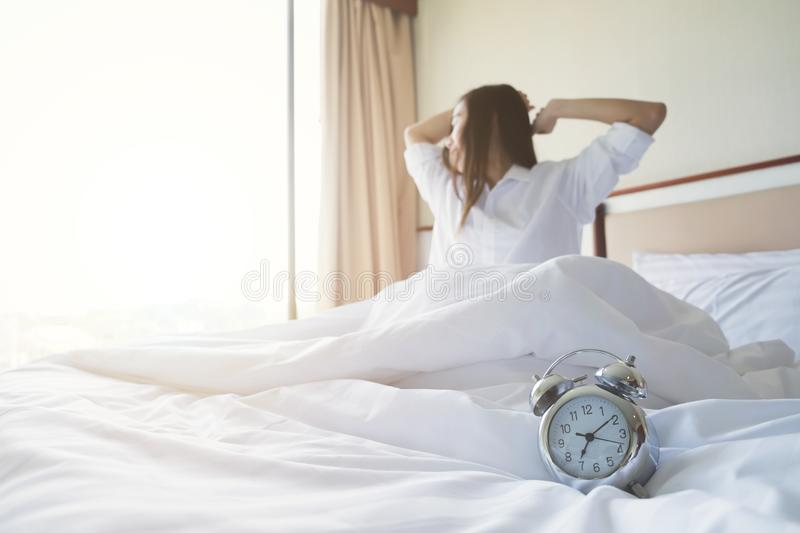 Fresh and relax wake up in the morning. stock photo