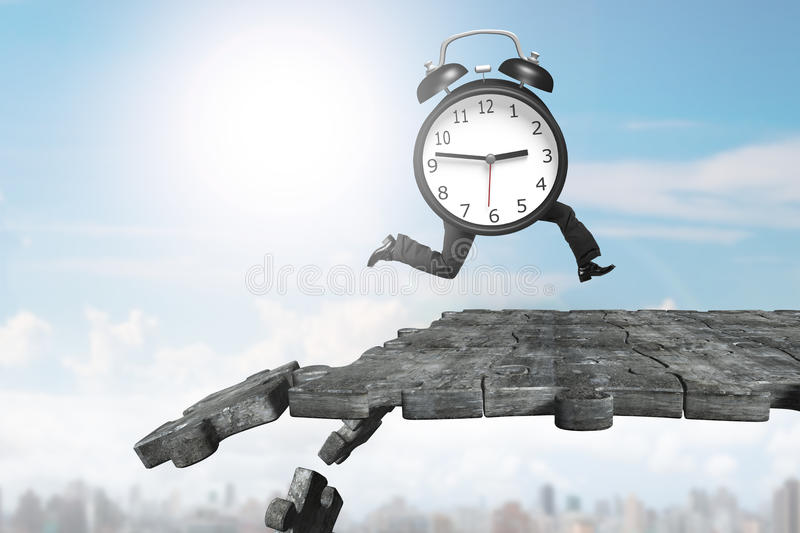 Alarm clock with human legs running on breaking puzzle ground. Alarm clock with human legs running on concrete puzzle ground with some pieces falling stock photography
