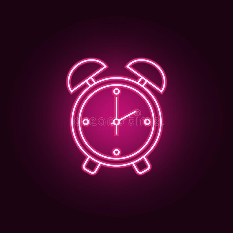 alarm clock icon. Elements of hotel in neon style icons. Simple icon for websites, web design, mobile app, info graphics vector illustration