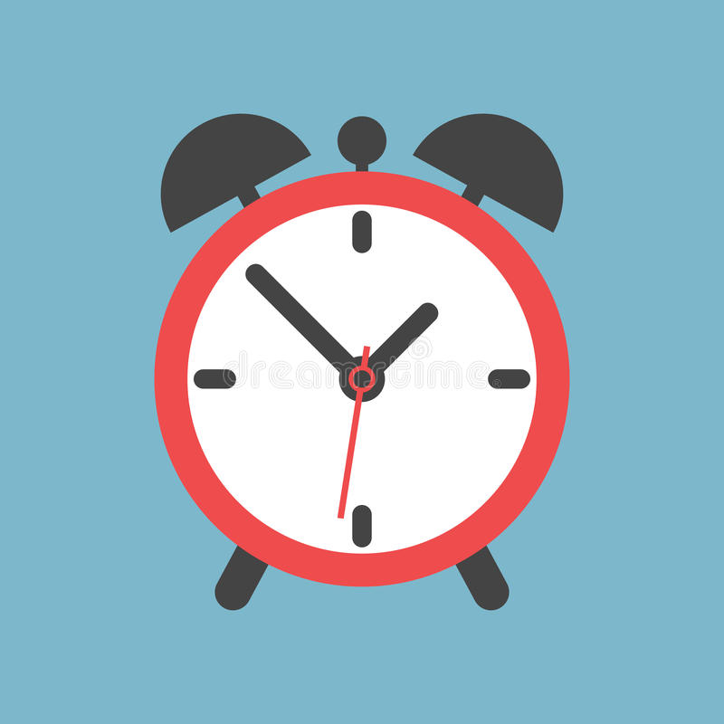 Alarm clock icon. Flat design style. Simple icon on blue background. Web site page and mobile app design element vector illustration