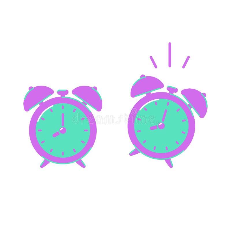 Alarm clock icon isolated on white background, flat style stock illustration