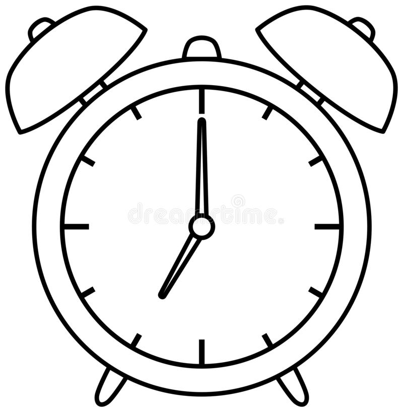 Alarm clock icon. Outline vector illustration. Coloring book royalty free illustration