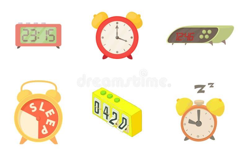 Alarm clock icon set, cartoon style stock illustration