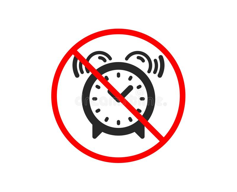 Alarm clock icon. Time sign. Vector. No or Stop. Alarm clock icon. Time or watch sign. Prohibited ban stop symbol. No alarm clock icon. Vector royalty free illustration