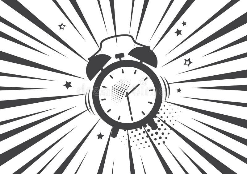 Alarm clock icon. Vector illustration in pop art style. Alarm clock in black and white background. Vector illustration in pop art style vector illustration