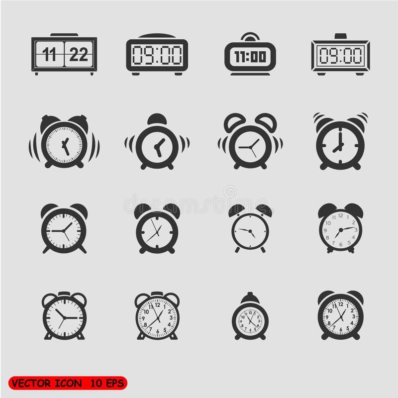 Alarm clock icons set royalty free illustration