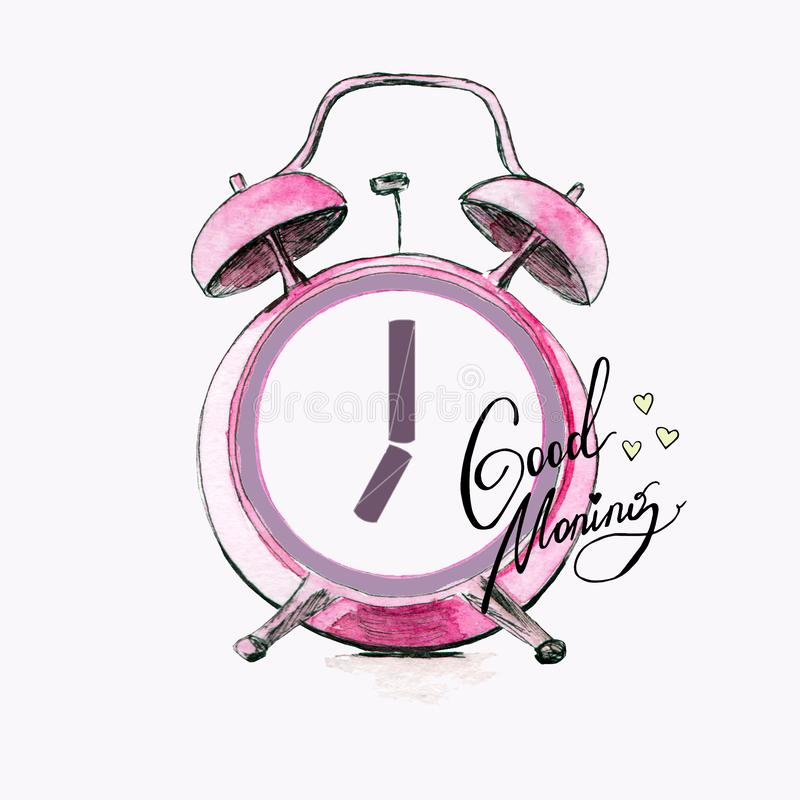 Alarm clock image on white background. For your design royalty free illustration