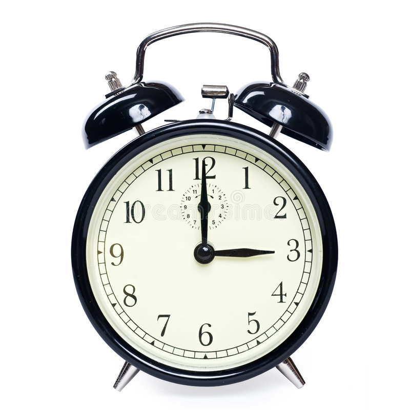 Alarm clock isolated. Old-fashioned alarm clock isolated on white background [with clipping path royalty free stock photos
