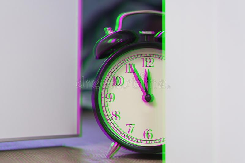 Alarm clock lay out around corners bedroom at late time. Live with schedule, time to sleep. Digital signal glitch effect rgb shi. Ft, slices. Screen error stock images