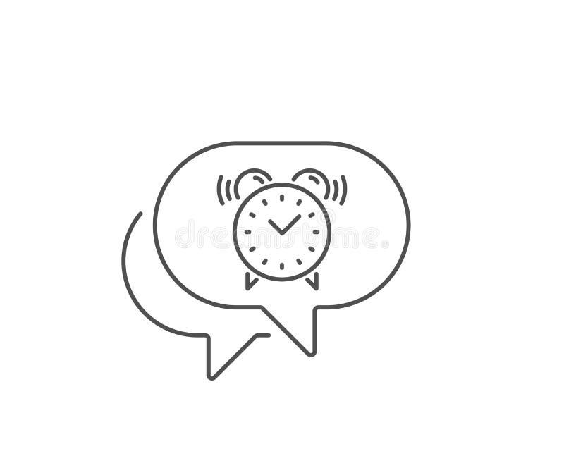 Alarm clock line icon. Time sign. Vector. Alarm clock line icon. Chat bubble design. Time or watch sign. Outline concept. Thin line alarm clock icon. Vector royalty free illustration