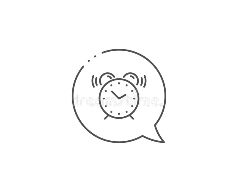 Alarm clock line icon. Time sign. Watch. Vector. Alarm clock line icon. Chat bubble design. Time sign. Watch symbol. Outline concept. Thin line alarm clock icon stock illustration