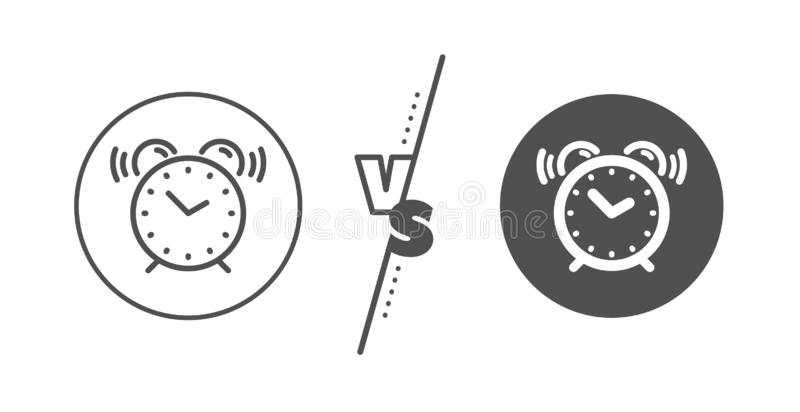Alarm clock line icon. Time sign. Watch. Vector. Time sign. Versus concept. Alarm clock line icon. Watch symbol. Line vs classic alarm clock icon. Vector vector illustration
