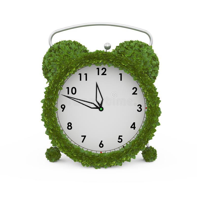 Download Alarm Clock Made From Fresh Leaves Stock Illustration - Illustration: 32355583