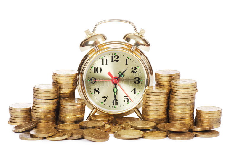 Download Alarm clock and money stock image. Image of background - 23990261