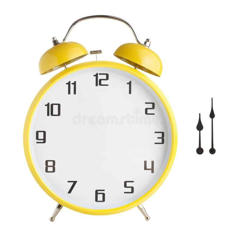 Alarm clock with no hands. Hour and minute hands separated. Isolated on white background. Just set your own time stock photo