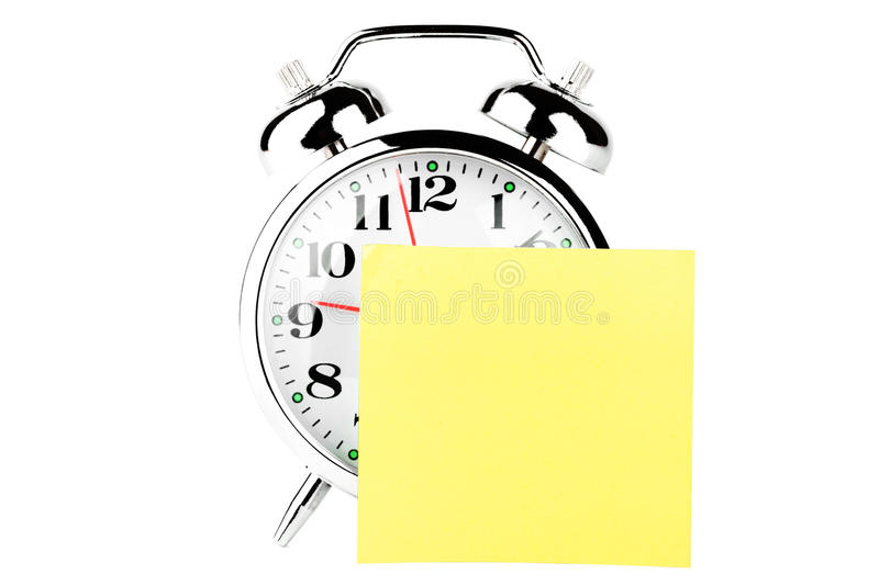 Alarm Clock with note paper royalty free stock photos