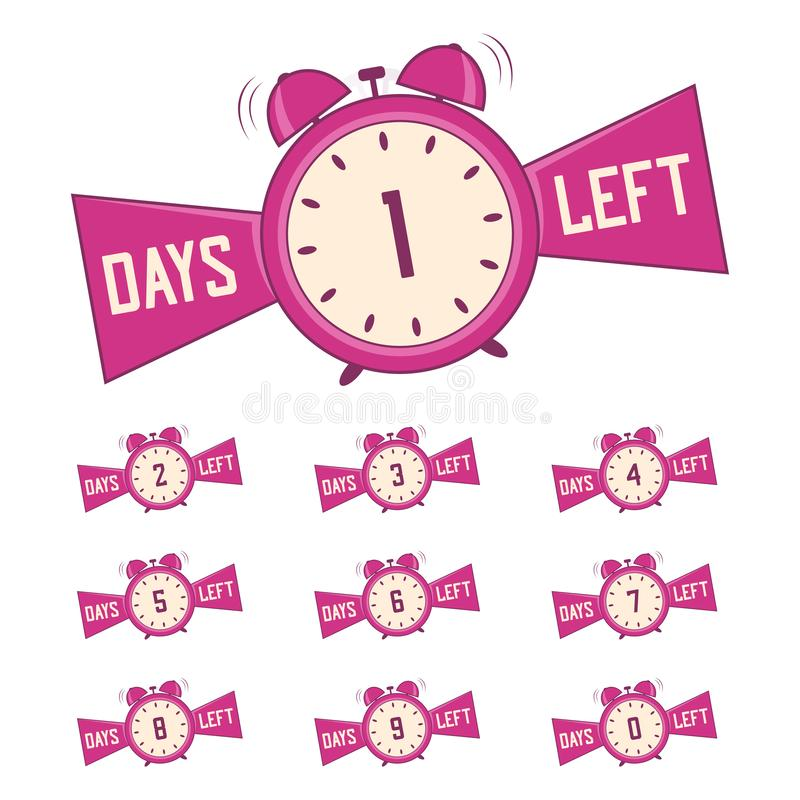 Number days left. Banners set of countdown days for promotion, sale. Vector royalty free illustration