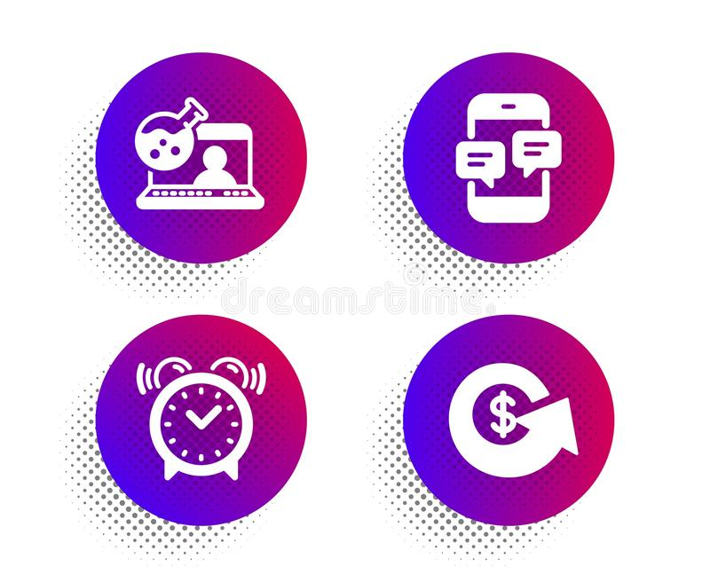 Alarm clock, Online chemistry and Phone messages icons set. Dollar exchange sign. Time, Lab flask, Mobile chat. Vector. Alarm clock, Online chemistry and Phone royalty free illustration