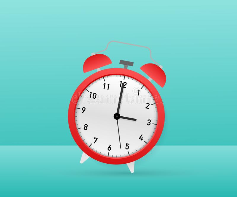 Alarm clock red wake-up time. Vector stock illustration. Alarm clock red wake-up time. Vector illustration royalty free illustration