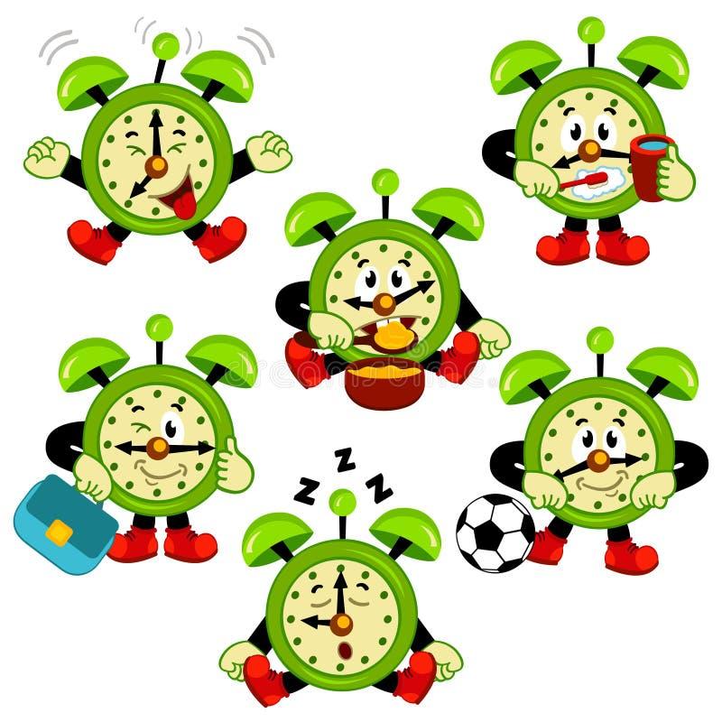 Alarm clock routine. Vector illustration vector illustration