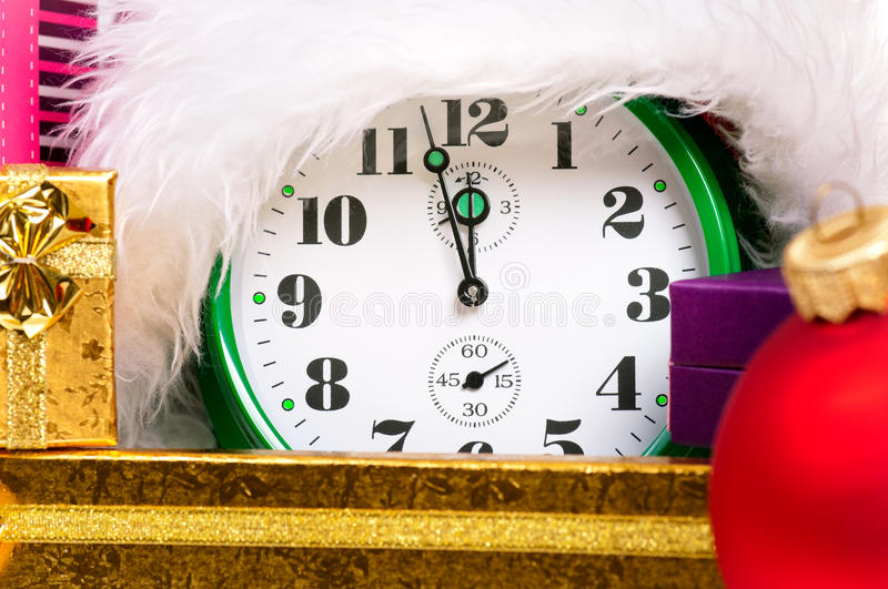 Download Alarm clock with santa hat stock image. Image of larm - 33942713
