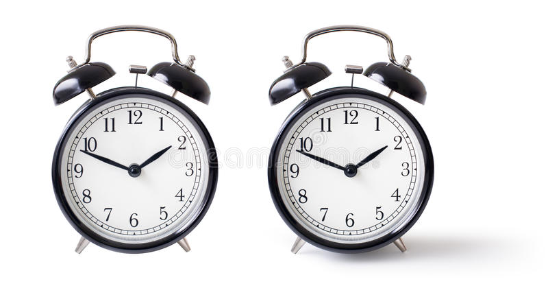 Alarm clock set isolated with clipping path royalty free stock photos