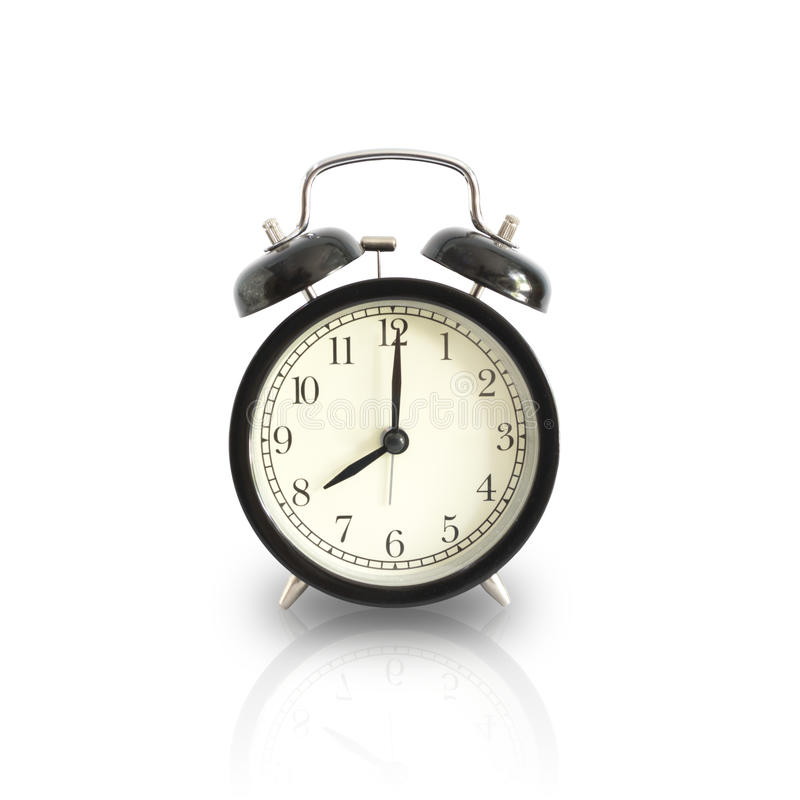 Alarm clock setting at 8 AM or PM isolated. This has clipping pa. Alarm clock setting at 8 AM or PM isolated on white background. This has clipping path royalty free stock images