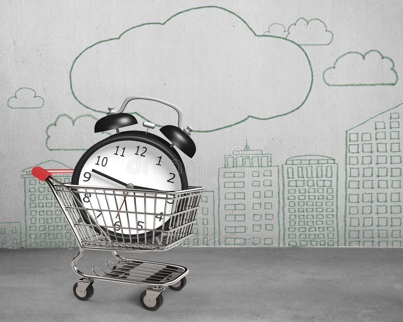 Alarm clock in shopping cart with doodles wall concrete room royalty free illustration
