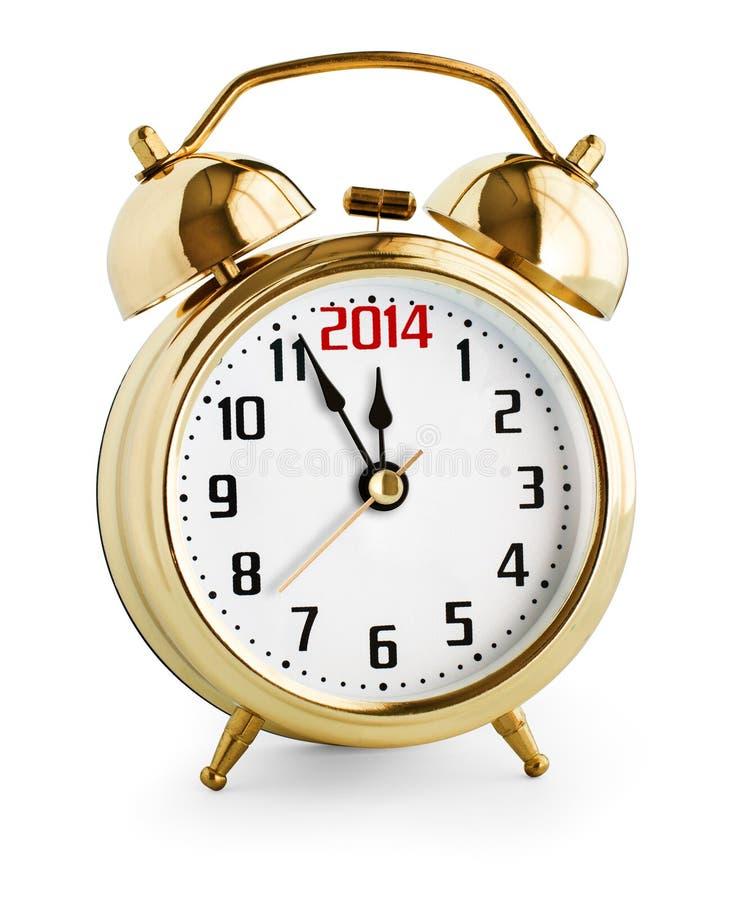 Alarm clock showing 2014 new year stock photo