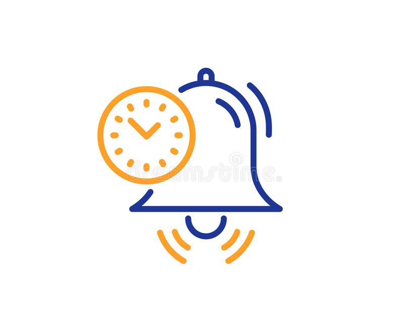 Time management line icon. Alarm clock sign. Watch. Vector. Alarm clock sign. Time management line icon. Watch symbol. Colorful outline concept. Blue and orange royalty free illustration