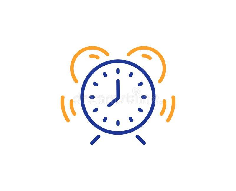Time management line icon. Alarm clock sign. Watch. Vector. Alarm clock sign. Time management line icon. Watch symbol. Colorful outline concept. Blue and orange stock illustration