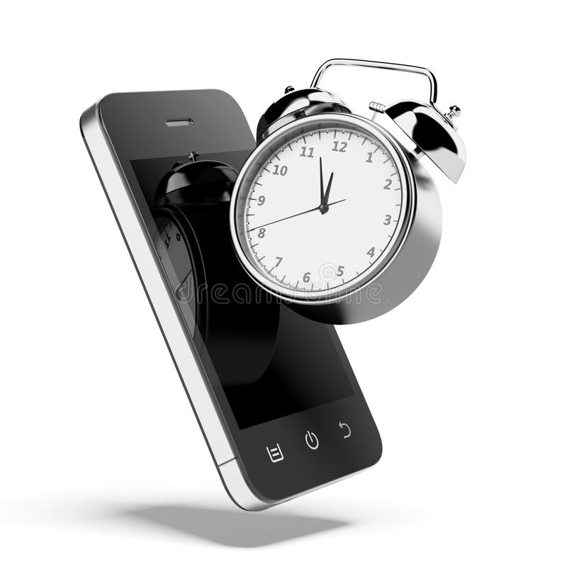 Alarm clock with smartphone royalty free illustration